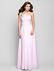 cheap -A-Line Open Back Pastel Colors Prom Formal Evening Military Ball Dress One Shoulder Sleeveless Floor Length Chiffon with Beading Draping Side Draping 2020