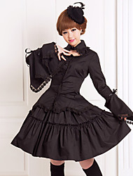 cheap -Ribbons Gothic Lolita Lace Dress Outfits Women's Girls' Cotton Japanese Cosplay Costumes Plus Size Customized Black Ball Gown Solid Colored Puff / Balloon Sleeve Long Sleeve Knee Length Medium Length