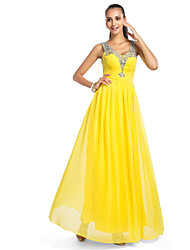 cheap -Ball Gown V Neck Floor Length Chiffon / Tulle Elegant Prom / Formal Evening Dress with Criss Cross / Sequin / Draping 2020