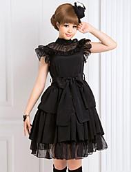 cheap -Gothic Lolita Dress Women's Girls' Chiffon Japanese Cosplay Costumes Black Solid Colored Sleeveless Medium Length