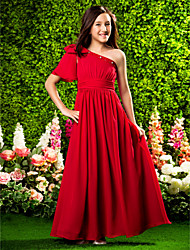 cheap -Princess / A-Line One Shoulder Floor Length Chiffon Junior Bridesmaid Dress with Bow(s) / Ruched / Beading / Spring / Summer / Fall / Apple / Hourglass