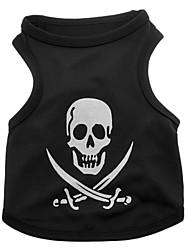 cheap -Dog Shirt / T-Shirt Dog Clothes Black Costume Terylene Skull Halloween XS S M L
