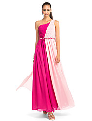 cheap -Ball Gown Open Back Prom Formal Evening Military Ball Dress One Shoulder Sleeveless Floor Length Chiffon with Draping Side Draping 2021
