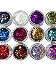 cheap -12 pcs Glitter Powder Nail Art Kit Nail Jewelry nail art Manicure Pedicure Daily Punk / Fashion / Acrylic