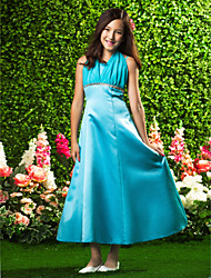 cheap -A-Line / Princess Halter Neck Ankle Length Chiffon / Satin Junior Bridesmaid Dress with Beading by LAN TING BRIDE® / Empire / Spring / Summer / Fall / Wedding Party