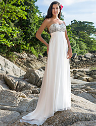 cheap -Sheath / Column Wedding Dresses Sweetheart Neckline Sweep / Brush Train Chiffon Strapless Sexy Backless with Beading 2020