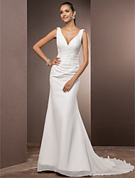 cheap -Sheath / Column Wedding Dresses V Neck Court Train Chiffon Over Satin Regular Straps Vintage Backless Elegant with Side-Draped 2021