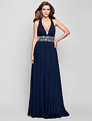 cheap -Sheath / Column Open Back Prom Formal Evening Military Ball Dress Plunging Neck Sleeveless Floor Length Chiffon with Beading Draping 2020