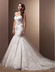 cheap -Mermaid / Trumpet Sweetheart Neckline Chapel Train Organza / Floral Lace Strapless Made-To-Measure Wedding Dresses with Beading / Appliques / Criss-Cross 2020