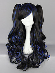 cheap -Black and Blue Blended Curly Pigtails 70cm Gothic Long Wig