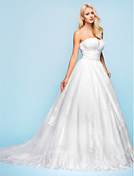 cheap -Ball Gown Wedding Dresses Strapless Court Train Organza Tulle Sleeveless with 2021