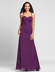 cheap -Sheath / Column Halter Neck Floor Length Chiffon Bridesmaid Dress with Side Draping