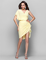cheap -Sheath / Column V Neck Asymmetrical Chiffon Chic & Modern / Elegant Cocktail Party / Homecoming Dress with Side Draping / Ruched 2020