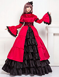 cheap -Victorian Medieval 18th Century Dress Party Costume Masquerade Women's Lace Satin Cotton Costume Fuchsia Vintage Cosplay Party Prom Long Sleeve Floor Length Long Length Ball Gown Plus Size Customized