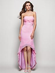 cheap -Sheath / Column Open Back Formal Evening Dress Strapless Sleeveless Asymmetrical Chiffon with Criss Cross Ruched 2021