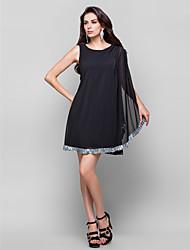 cheap -Sheath / Column Little Black Dress Cocktail Party Dress Jewel Neck Sleeveless Short / Mini Chiffon with Crystals Draping 2021