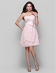 cheap -A-Line Elegant Homecoming Cocktail Party Dress Spaghetti Strap Sleeveless Knee Length Chiffon Stretch Satin with Tier 2021