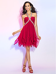 cheap -A-Line Sexy Red Homecoming Cocktail Party Dress Halter Neck Sleeveless Asymmetrical Chiffon with Crystals Tier 2020