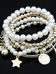 cheap -Women's Charm Bracelet Wrap Bracelet Ball Tower Star Ball Ladies Unique Design Fashion Pearl Bracelet Jewelry White / Silver For Christmas Gifts Wedding Party Daily Masquerade Engagement Party