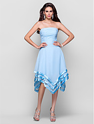 cheap -Ball Gown Open Back Homecoming Cocktail Party Dress Spaghetti Strap Sleeveless Asymmetrical Chiffon Stretch Satin with Ruched Flower 2021
