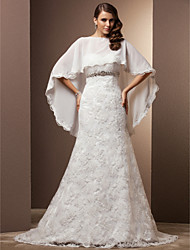 cheap -Mermaid / Trumpet Wedding Dresses Sweetheart Neckline Court Train Chiffon Lace Sleeveless with Crystal Button 2021