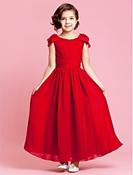 cheap -Princess / A-Line Ankle Length Pageant Flower Girl Dresses - Chiffon Sleeveless Jewel Neck with Bow(s) / Buttons / Ruched / Spring / Summer / Fall