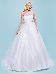 cheap -Ball Gown Wedding Dresses One Shoulder Court Train Tulle Sleeveless with Bowknot Sash / Ribbon Beading 2021