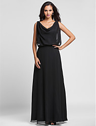 cheap -Sheath / Column Elegant Holiday Formal Evening Dress Cowl Neck Sleeveless Floor Length Chiffon with Draping 2020