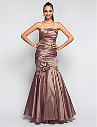 cheap -Mermaid / Trumpet Open Back Prom Formal Evening Military Ball Dress Strapless Sleeveless Floor Length Taffeta with Criss Cross Draping Flower 2021