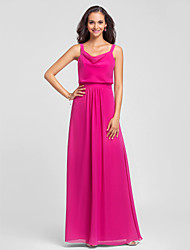cheap -Sheath / Column Straps Floor Length Chiffon Bridesmaid Dress with Draping / Open Back