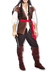 cheap -Pirate Cosplay Costume Men's Halloween Carnival New Year Festival / Holiday Polyester Men's Carnival Costumes / Headpiece