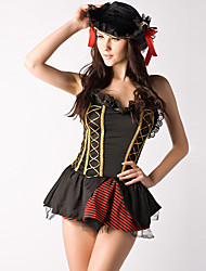cheap -Cool Sexy Lady Black and Red Spandex Mini Dress Pirate Costume (2 Pieces)