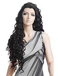 cheap -Synthetic Wig Natural Wave Spanish Curly Chic & Modern Curly Lace Front Wig Long Black Synthetic Hair 27 inch Women's Black