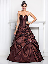 cheap -Ball Gown Open Back Quinceanera Prom Formal Evening Dress Strapless Sweetheart Neckline Sleeveless Floor Length Taffeta with Pick Up Skirt Crystals Crystal Brooch 2020