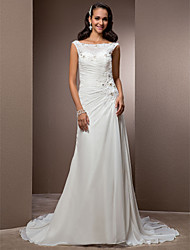 cheap -Sheath / Column Wedding Dresses Bateau Neck Court Train Chiffon Cap Sleeve with Beading Appliques Button 2021