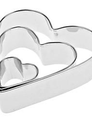 cheap -Heart Shape Stainless Steel Cookies Cutter Set 3pcs