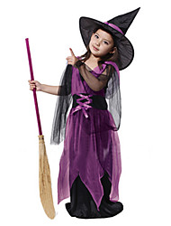 cheap -Witch Cosplay Costume Kid's Halloween Carnival Children's Day Festival / Holiday Polyester Carnival Costumes / Hat