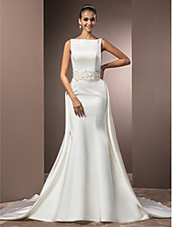 cheap -Mermaid / Trumpet Wedding Dresses Bateau Neck Cathedral Train Satin Regular Straps Vintage Inspired with Beading 2021