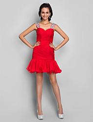 cheap -Sheath / Column Homecoming Cocktail Party Prom Dress Straps Sweetheart Neckline Sleeveless Short / Mini Chiffon Stretch Satin with Criss Cross Sequin Ruffles 2021