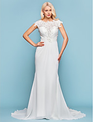 cheap -Mermaid / Trumpet Wedding Dresses Jewel Neck Court Train Chiffon Short Sleeve Open Back with Beading Appliques Side-Draped 2021