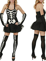 cheap -Cosplay Costumes Skeleton/Skull Festival/Holiday Halloween Costumes Print Dress / Gloves / Stockings Halloween / Carnival / New Year