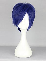 cheap -Free! Rei Ryugazaki Cosplay Wigs Men's 14 inch Heat Resistant Fiber Ink Blue Anime