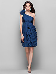 cheap -Sheath / Column One Shoulder Knee Length Chiffon Cocktail Party Dress with Cascading Ruffles / Flower by TS Couture®