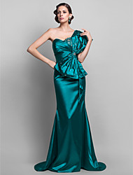 cheap -Mermaid / Trumpet One Shoulder Sweep / Brush Train Stretch Satin Open Back Formal Evening Dress with Beading / Bow(s) 2020