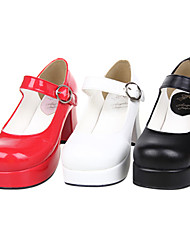 cheap -Women's Lolita Shoes Classic Lolita Handmade High Heel Shoes Solid Colored 7.5 cm Black White Red PU Leather / Polyurethane Leather Halloween Costumes