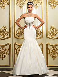 cheap -Mermaid / Trumpet Strapless Floor Length Satin Strapless Made-To-Measure Wedding Dresses with Crystal / Draping 2020