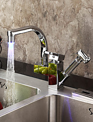 cheap -Kitchen faucet - One Hole Chrome Pull-out / ­Pull-down Deck Mounted Contemporary Kitchen Taps