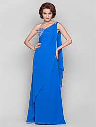cheap -Sheath / Column Mother of the Bride Dress Elegant One Shoulder Watteau Train Floor Length Chiffon Sleeveless with Crystals Beading Side Draping 2021