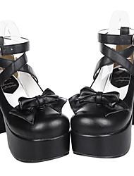 cheap -Women's Lolita Shoes Gothic Lolita Classic Lolita High Heel Shoes Bowknot 9.5 cm PU Leather / Polyurethane Leather Halloween Costumes