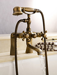 cheap -Shower Faucet, Antique Brass Wall Mounted Bathtub Shower Mixer Taps Contain with Handshower/Supply Lines